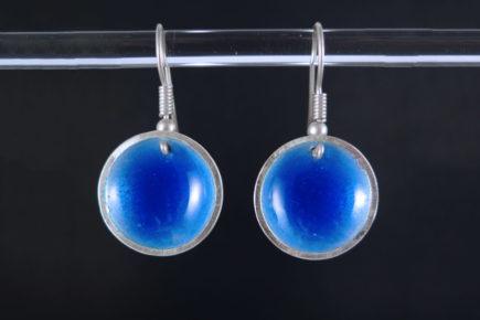 Boucles-oreille-rondes-concaves-bleu-en-argent-925-émaillées