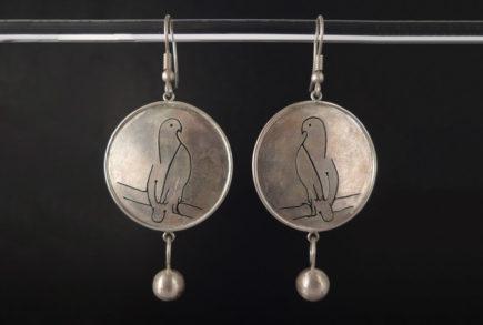 Boucles d'oreilles oiseaux colombes en argent 925